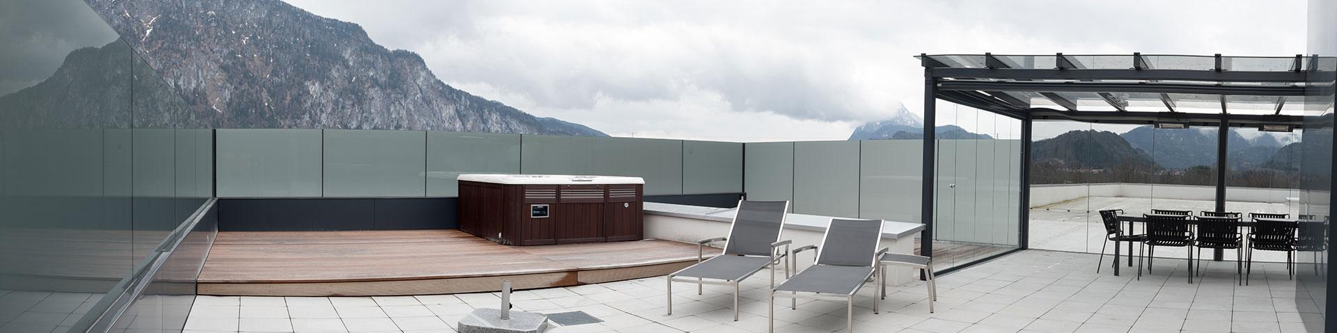 B&W Glasbau Glasdach Dach Teilvorgespanntenglas Windschutz