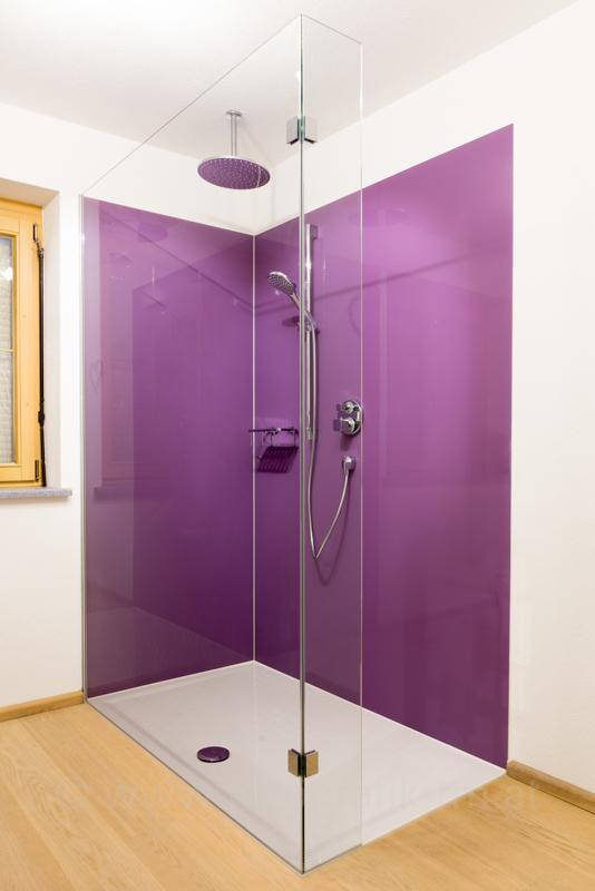 B&W Glasbau Rückwand Verglasung Dusche Bad