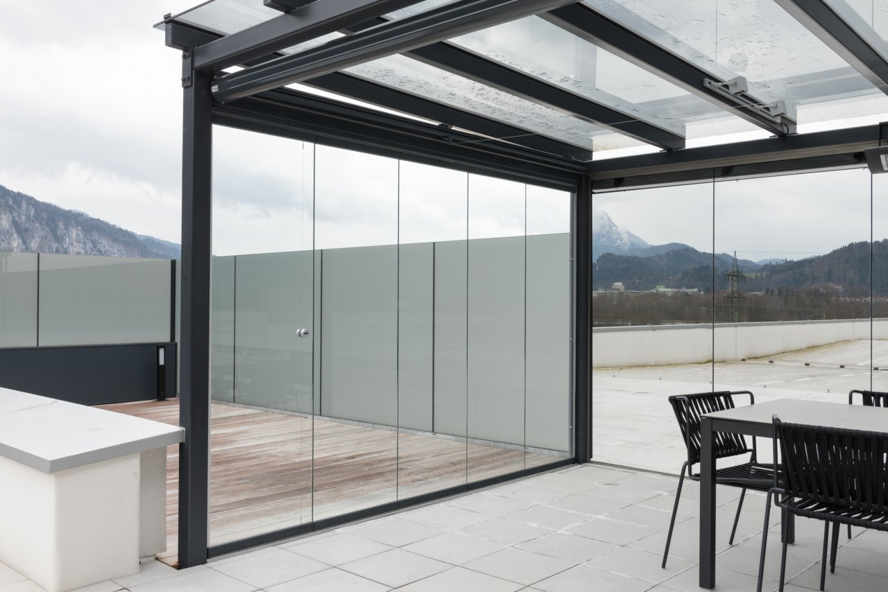 B&W Glasbau Glasdach Dach Windschutz Wintergarten