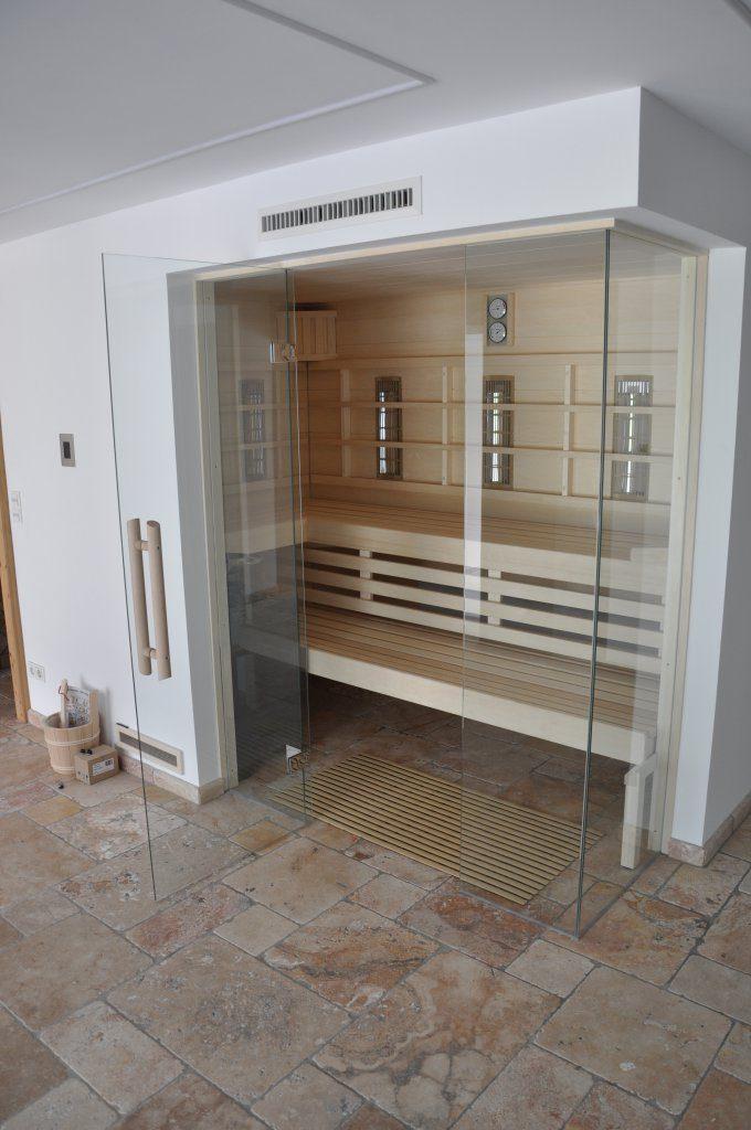 B&W Glasbau Verglasung Sauna Glaswand Saunatür
